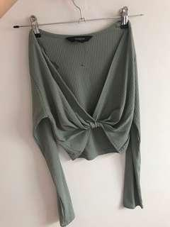 Green cropped knot top