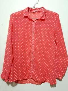 Flashy Orange Polkadot Chiffon Shirt