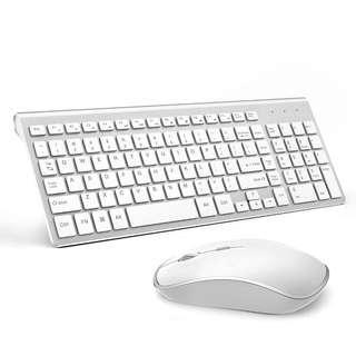 0110_Wireless Keyboard and Mouse Combo,J JOYACCESS 2.4G Slim Wireless Keyboard Mouse-Portable, Full Size, Ergonomic, 2400 DPI,Extreme Power Saving,Sleek Design-White+Silver