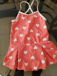 PRELOVED OLD NAVY ONE PIECE SWIMSUIT W/ HEARTS (4T)