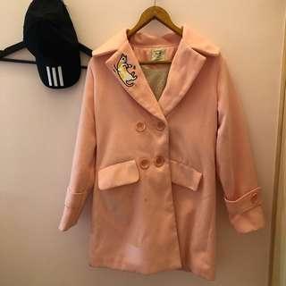 🚚 羊毛大衣 粉紅大衣 保暖 大衣 日系大衣 貓咪