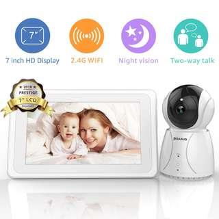 """0111_BIGASUO Video Baby Monitor with Camera & 720P 7"""" HD LCD Digital Screen, Two Way Audio & 5 Baby Lullabies, Sound & Movement Alarm, Night Vision, Wireless Video Baby Monitor"""