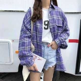Purple Blue Checker Shirt Jacket long top oversized BF style long sleeves loose