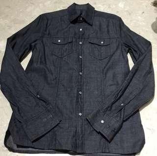 🚚 Authentic BN Black Barrett Men Indigo Denim Shirt