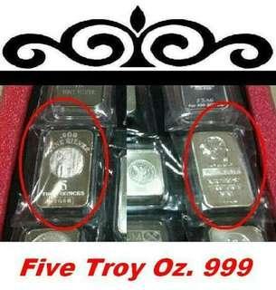👉 USA - 1x 5 Troy Oz. 999 Fine Silver Classic bar