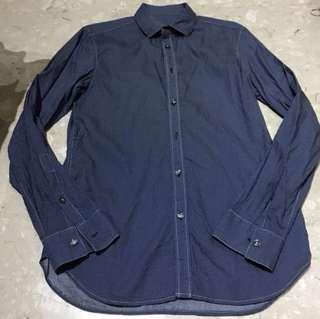 🚚 Brand New Julius Errol Flynn Men Pokka Dots Navy Blue Shirt