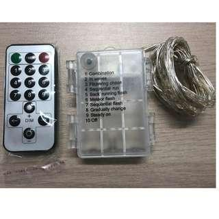 5M Battery Operated Silver Wire + Remote Fairy Light -8Modes