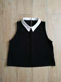Zara Contrast Collar Crop Top