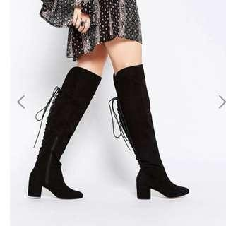 ASOS KOCO Black Lace Up Thigh High Boots 36