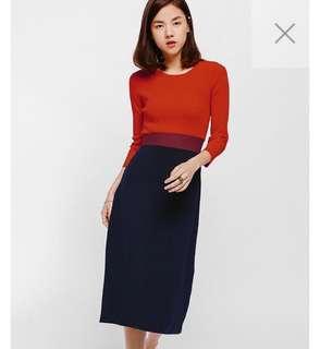 Edelga Contrast Midi Knit Dress
