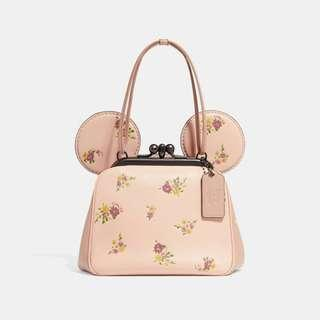 🚚 Coach KISSLOCK BAG WITH FLORAL MIX PRINT AND MINNIE MOUSE EARS
