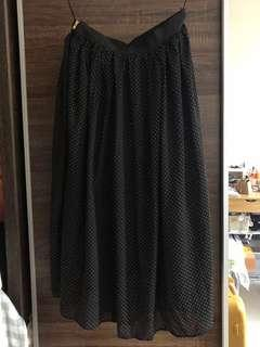 MDS Black Midi Skirt with gold dots