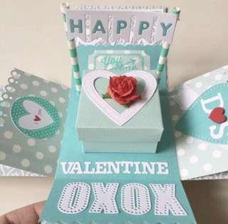 Happy Valentine day red and Tiffany Explosion box card