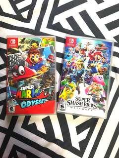 Super Mario Odyssey and Super Smash Bros