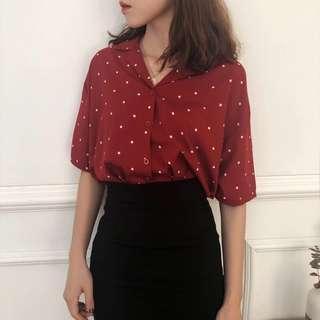 #181 polka dot korean uzzlang button up blouse/top