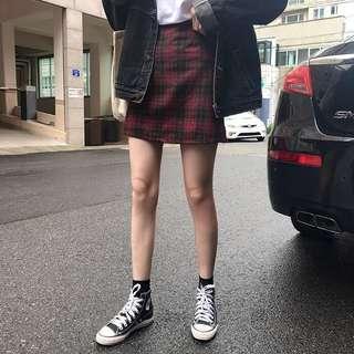#182 korean checkered aline skirt