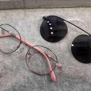眼鏡架+CLIP ON太陽鏡(偏光鏡片)