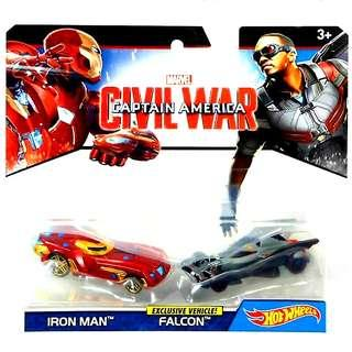Hot Wheels Exclusive Vehicle ! Falcon & Iron Man 2 Pack Marvel Captain America Civil War Hotwheels Character Cars MISB