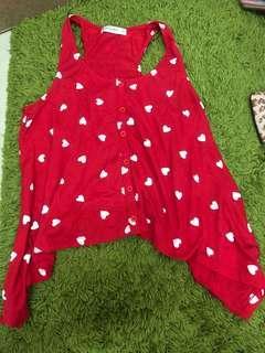 Red love pattern tank top Kitschen