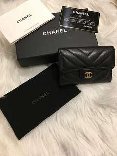 🚚 Chanel 牛皮金釦卡片夾