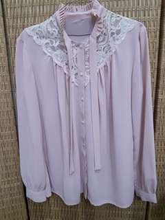Dusty pink lace shirt