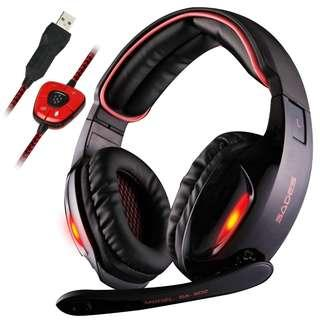 0113_Sades SA902 7.1 Channel Virtual USB Surround Stereo Wired PC Gaming Headset Over Ear Headphones with Mic Revolution Volume Control Noise Canceling LED Light (Black/Red)