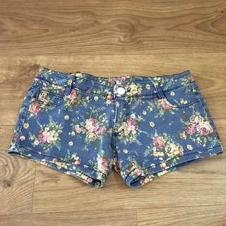 Floral denim shorts