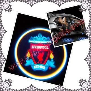 2pcs Liverpool Football Club FC Logo Magnetic Universal Wireless Car Door Ghost Shadow Courtesy Greetings Projector LED Light Minibus SUV MPV Hiace
