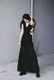 ASOS Inspired Black Cut-Out Maxi Dress