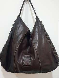 Campomaggi Distressed Dark Brown Calf Leather Hobo Bag with Pyramid Studs - Hand Made in Italy