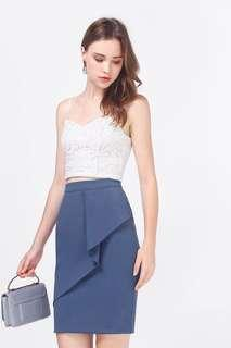 Fayth Heily Asymmetric Peplum Skirt in Ash Blue - Size XS