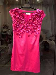 Fuschia pink dress with 3D petals