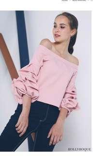 Hollyhoque GIANNA off shoulder top dusk pink