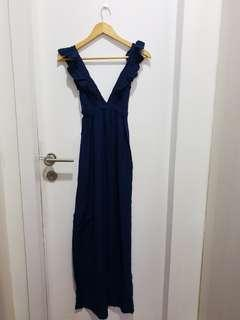 #GayaRaya Navy Blue Sexy Long Dress