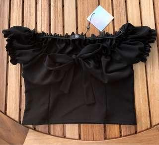 Misguided Milkmaid Black Crop