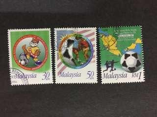 Malaysia 1997 9th World Youth Football Complete Set - 3v CTO NH Original Gum Stamps