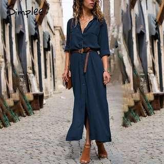 ❤Simplee Casual button long summer dress shirt 2018  office lady Vintage maxi women dress plus size V neck chiffon dress navy blue dark chiffon long maxi dress