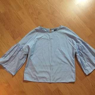 Seed Baby Blue Bell Sleeve Top