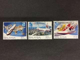 Malaysia 1997 50 Years Of Aviation In Malaysia Complete Set - 3v CTO NH Original Gum Stamps