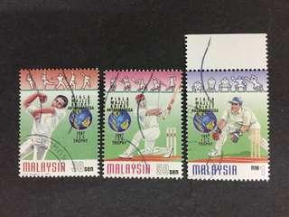 Malaysia 1997 Sports Cricket ICC Trophy Complete Set - 3v CTO NH Original Gum Stamps