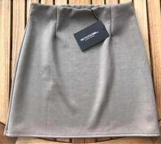 PrettyLittleThing Grey Faux Suede Skirt Size10