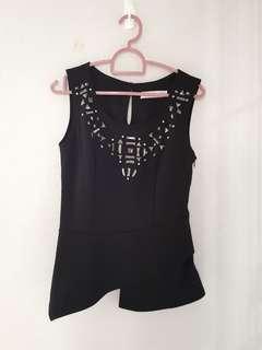 Black bejewelled asymmetrical top