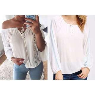 New Look White Peasant Top