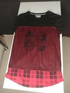 🔥 69 Black Red Flannel Layered T Shirt