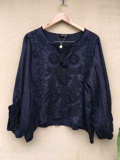 Zara black embroidered detailed with tassel