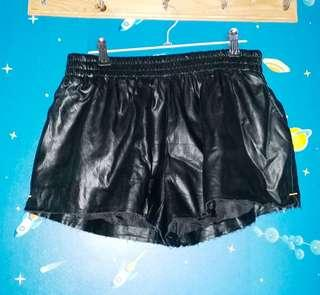 Leather distressed shorts
