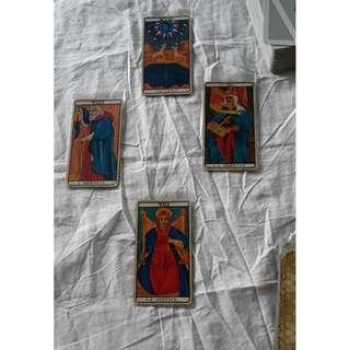 Divination reading - Four card Tarot spread with Marseilles