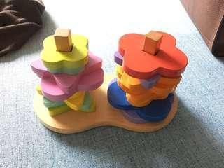 幼兒玩具 顏色 疊疊 樂 hape 正品 90%新