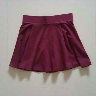 H&M wine red skater skirt