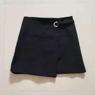 Black Overlap Skirt